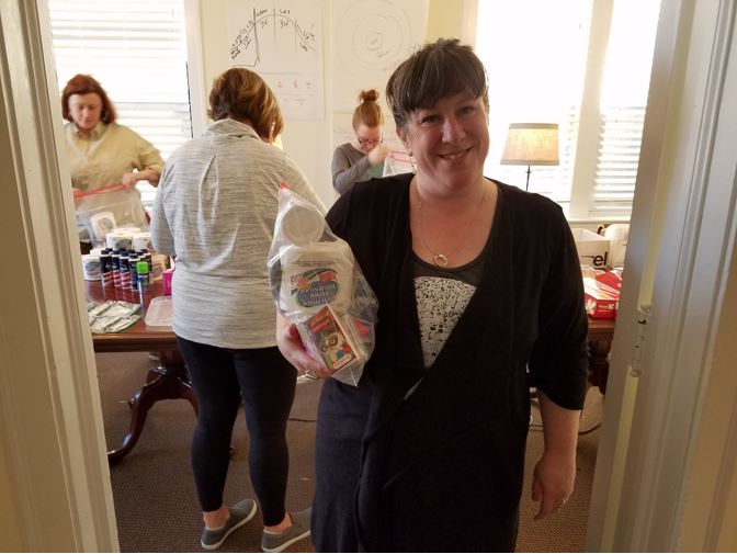 Ann volunteered to assemble Turpin Cares packages for the homeless